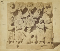 Buddhist sculpture slab from the lower monastery at Nutta, Peshawar District: worship of the triratna symbol.